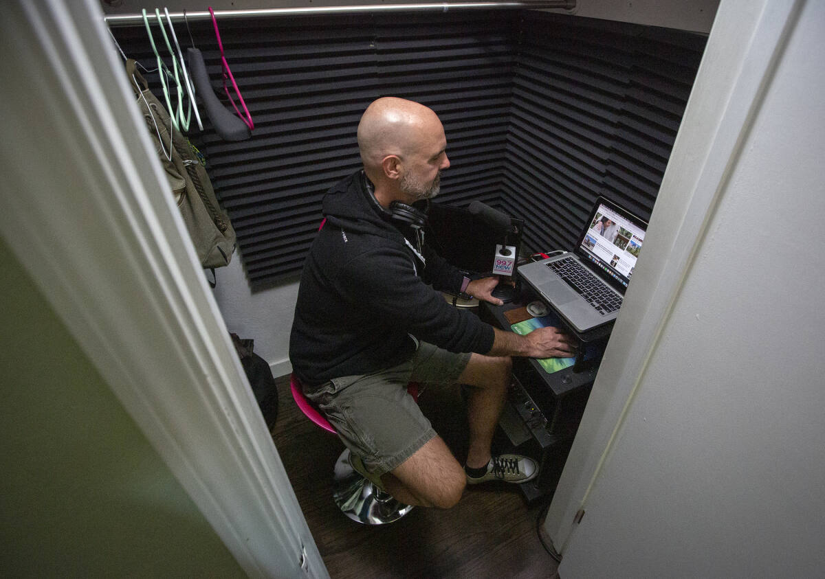 Radio personality Fernando Ventura in the sound-proofed closet at his Sonoma home on Wednesday, June 24. (Photo by Robbi Pengelly/Index-Tribune)