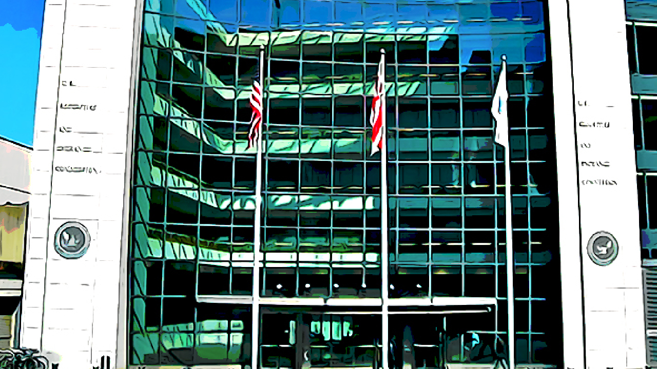 Medium shot of U.S. SEC building in Washington D.C.