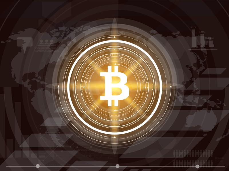 Abstract bitcoin crypto currency blockchain technology on global world map illustration