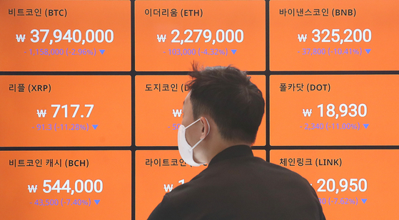 Cryptocurrency prices are displayed on a digital screen at Bithumb's office in Gangnam, southern Seoul, on Tuesday. Cryptocurrency exchanges are rushing to drop the number of altcoins — minor coins alternatives to bitcoin — they offer in a bid to appeal to banks as they have to find partner banks that can issue real-name accounts to their virtual asset customers by Sept. 24. [NEWS1]