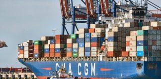 Port of Rotterdam container ship CMA CGM