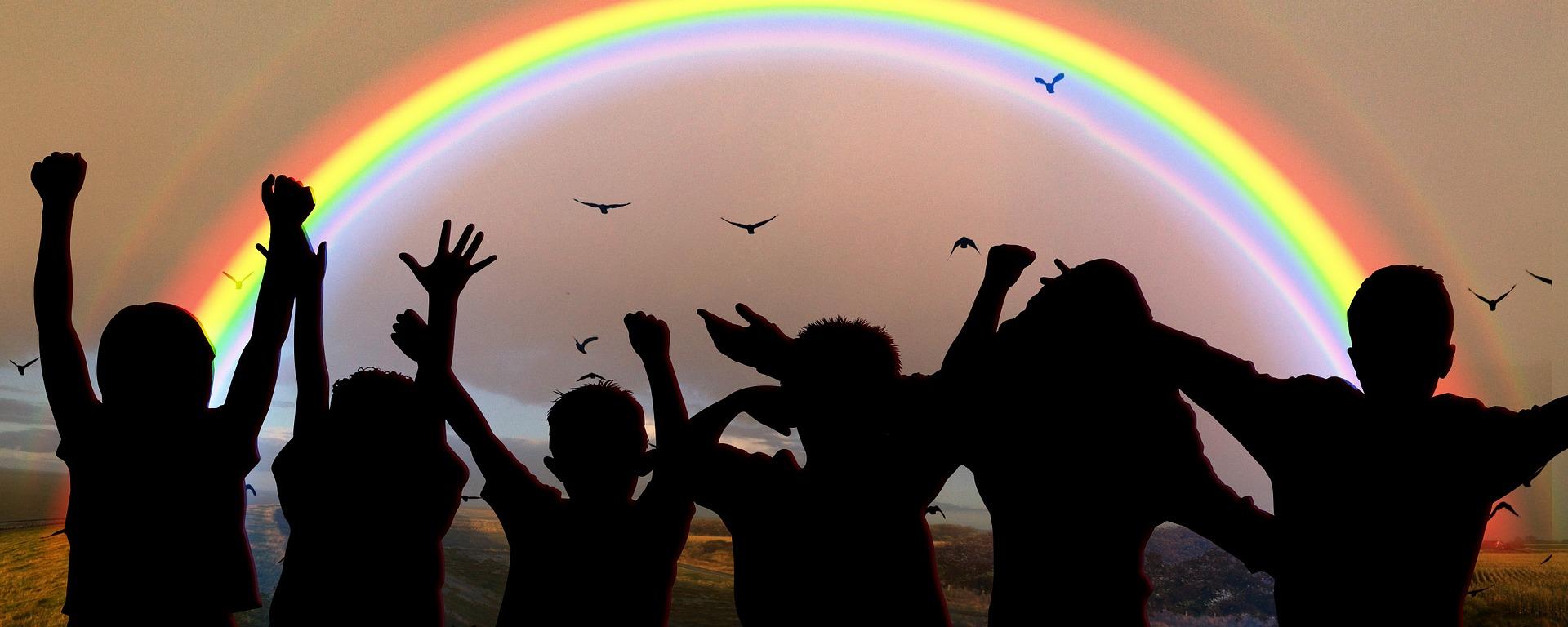 children and rainbow