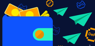 Picture of a blue wallet with green paper planes flying out of it and yellow currency notes sticking out