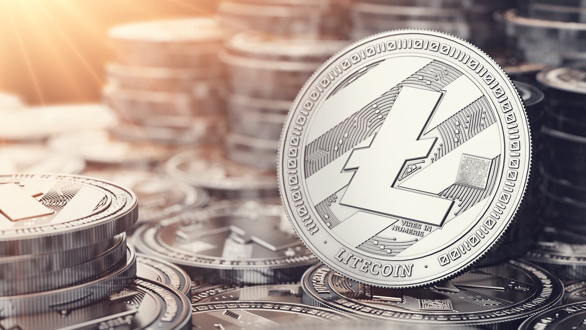 Picture of Litecoin coins stacked together. Newegg now accepts Litecoins through BitPay