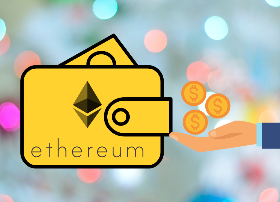 Picture of a wallet with Ethereum written on it, and a hand next to it with three ETH coins hovering above it