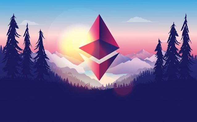 Picture of an Ethereum logo floating above a forest, with a sun setting behind the logo